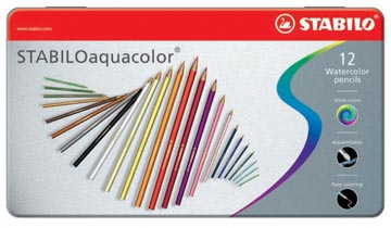 STABILOaquacolor kleurpotlood, metalen doos van 12 stuks in geassorteerde kleuren