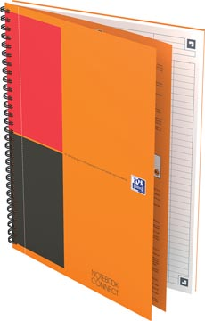 Oxford INTERNATIONAL notebook connect, stevige kartonnen kaft oranje, 160 bladzijden, ft B5, gelijnd
