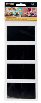 Securit krijtbordsticker zelfklevend, rechthoekig, blister met 8 stuks