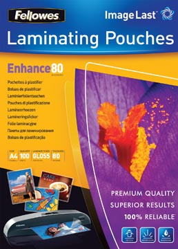 Fellowes lamineerhoes Enhance80 ft A4, 160 micron (2 x 80 micron), pak van 100 stuks