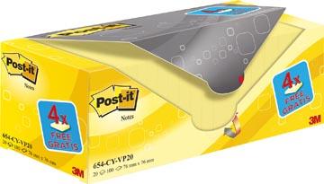 Post-it Notes, ft 76 x 76 mm, geel, 100 vel, pak van 16 + 4 gratis