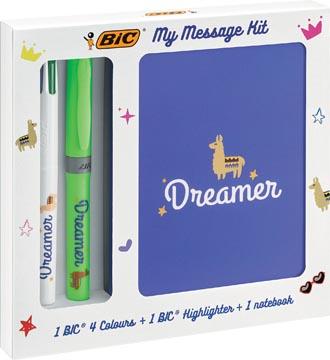 Bic Message Kit Dreamer, balpen 4 colours, markeerstift highlighter en notitieboekje ft A6
