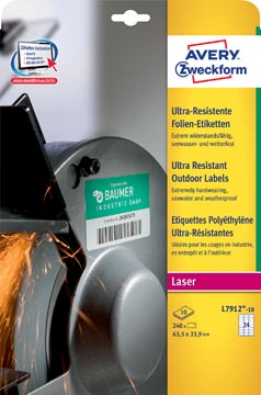 Avery ultra resistente etiketten voor buiten ft 63,5 x 33,9 mm (b x h), doos van 240 etiketten