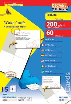 Decadry visitekaarten TopLine 60 kaartjes (4 kaartjes ft 148,5 x 105 mm per A4), rechte hoeken