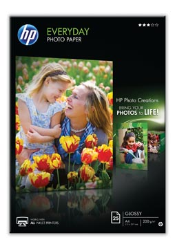 HP Everyday fotopapier ft A4, 200 g, pak van 25 vel, glanzend