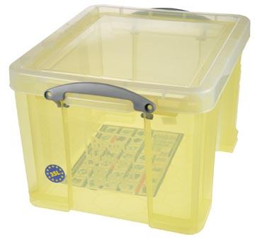 Really Useful Box opbergdoos 35 liter, transparant geel